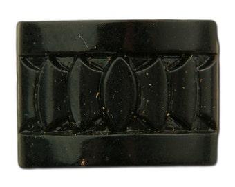 Vintage Czech Deco Jet Black Glass Etched Cabochons 18x13mm (2) cab775C