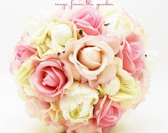 Pink Roses Ivory Peonies Bridal Bouquet Real Touch Blush Pink White Rose Ivory Real Touch Peonies Ivory Silk Hydrangea - Pink Ivory Wedding