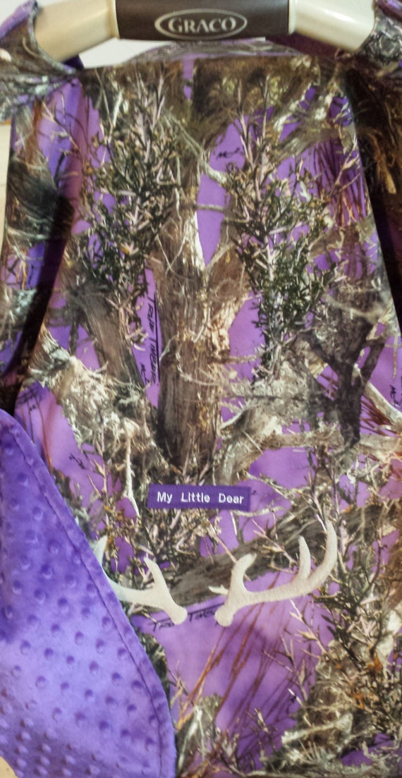 Car Seat Canopy Cover True Timber Purple Camo Baby Faux Suede