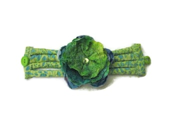 Green Blue Floral Print  Textile Cuff Bracelet