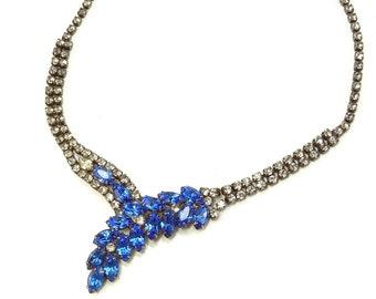 Vintage Rhinestone Necklace Montana Blue Art Deco Bypass Choker