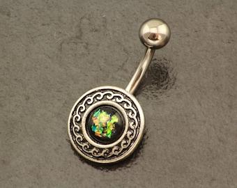 Tribal Belly Piercing. Fire Opal Belly Button Ring. Boho Silver Navel Jewelry. Hippie Body Jewellery. Beach Summer Green Fire Opal Belly Bar