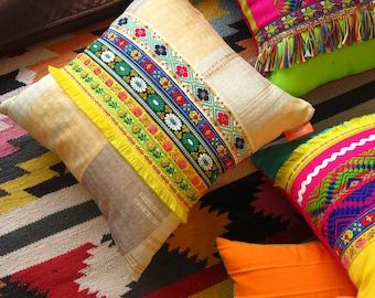 Mexican Pillow Boho Golden Yellow Trim Cushion - Bohemian Home Decor
