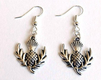 Thistle Earrings  - Silver Thistle Earrings - Scottish Earrings