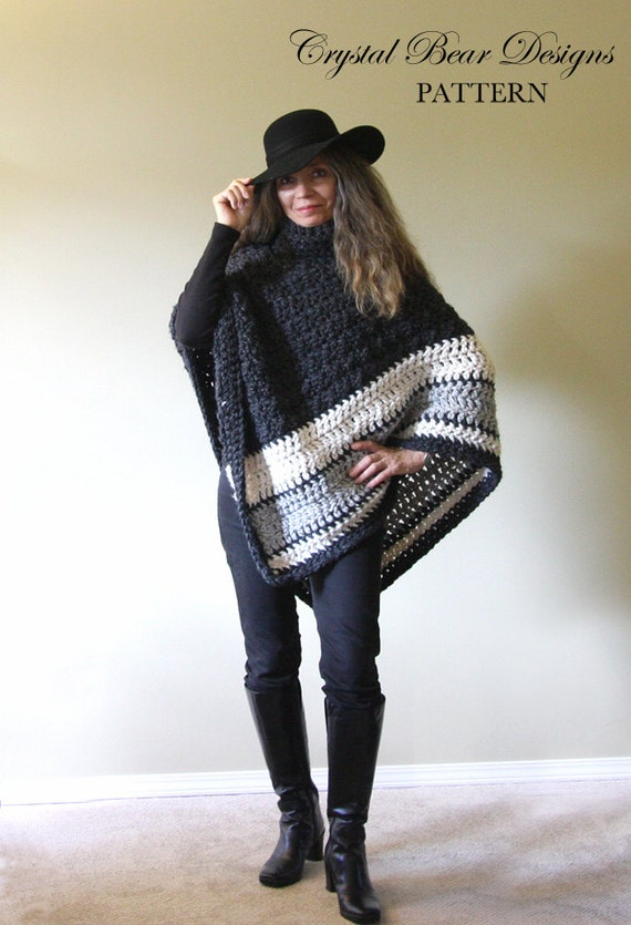 Chunky Crochet Poncho Pattern Easy Crochet Pattern Made In