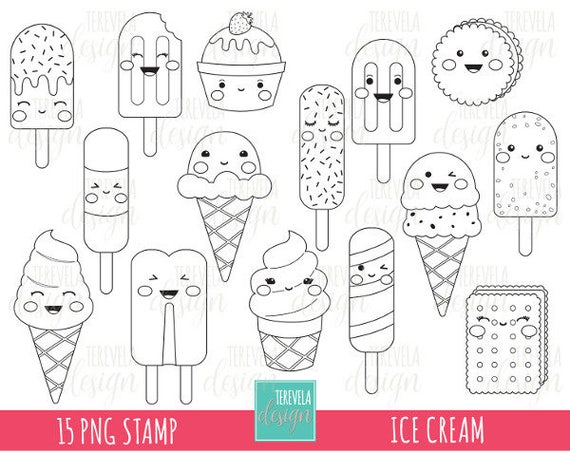 50% SALE ICE CREAM stamp digi stamp commercial use kawaii