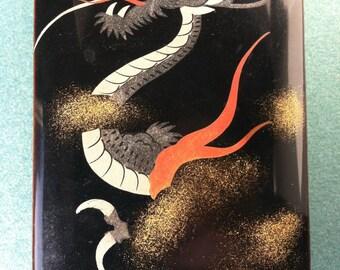 SALE Japanese Lacquer Box, Dragon Design