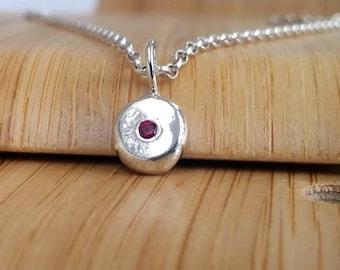 Ruby set pebble pendant