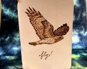 Refillable Leather Journal with Burned Red Tailed Hawk Design