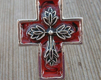 Red Cross Adjustable Ring