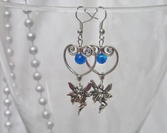 "Unique ""fairy""connector heart Stud Earrings"