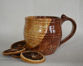 pottery mug, pottery coffee cup, coffee cup, soup mug, drinking cup, tea cup, drinkware, yellow cup, yellow pottery cup