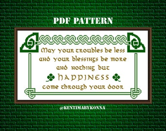 Irish blessing for happiness - Cross Stitch Pattern PDF - happiness blessing pattern - celtic knot pattern - irish cross stitch - KbK-086