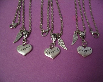 Three Friend Heart Necklaces with Angel Wing for Best Friends Sorority Sisters