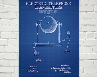 1881 Alexander Bell Electric Telephone Transmitter Patent Wall Art Poster, Home Decor, Gift Idea