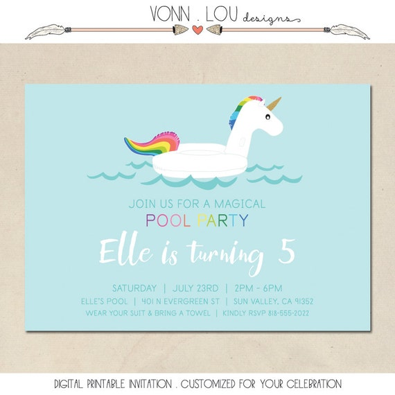 unicorn invitation unicorn pool party birthday invite