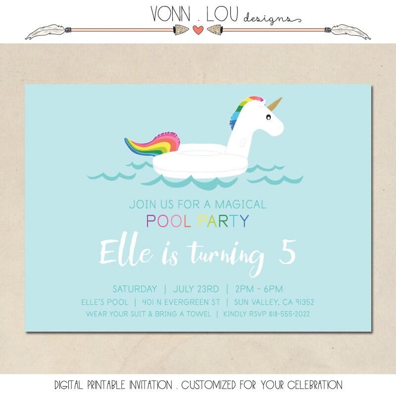 unicorn invitation unicorn pool party birthday invite