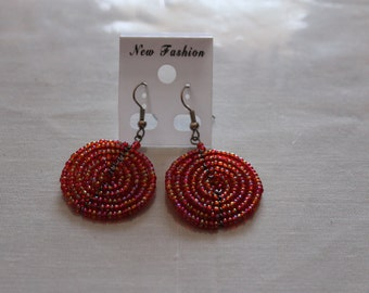 Iridescent Hot Pink Disc Shaped Beaded Earrings