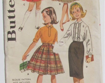 Skirt With Box Pleats Full Gathered Or Slim Straight Skirt Back Kick Pleat Girl's Size 8 Used Vintage Sewing Pattern Butterick 9849