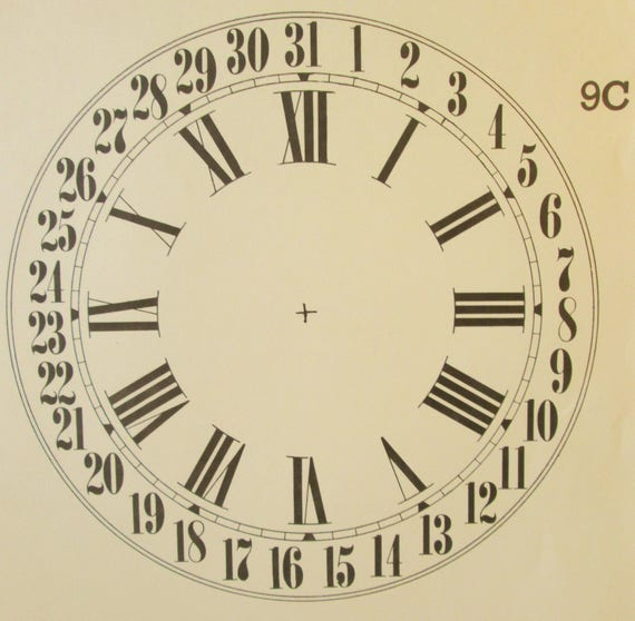 9 Inch Heavy Paper Reproduction Calendar Clock Dial for your Antique / Vintage / New  Clock Projects - Art Projects - Steampunk Art