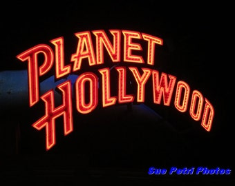 Art - Photography - Color Photography - Neon Sign Photos - Planet Hollywood Sign Art - Recroom Decor - Playroom Art
