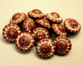 Vintage Lucite Abacus RUFFLED Spacer Beads RED 12mm pkg12 res348