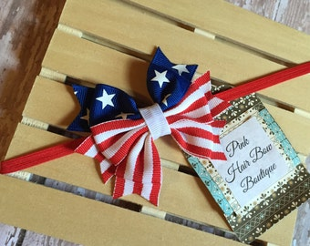 Baby's first 4th of July baby headband Stars and Stripes