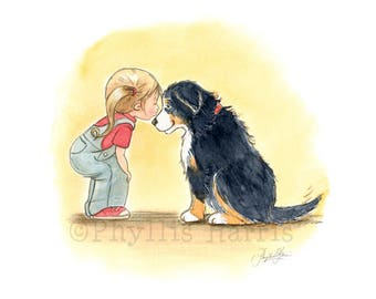A little girl and her Bernese Mountain Dog - First Love - Pet art print for kid's rooms