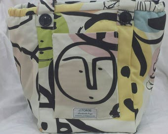 Handmade Vegan Shoulder Bag with Silly Faces