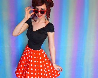 Minnie Mouse Dress - Disneybound Dress - Minnie Dress - Red Polka Dot Dress - Rockabilly 50s Dress - Adult Dress - Minnie - Dapper Day