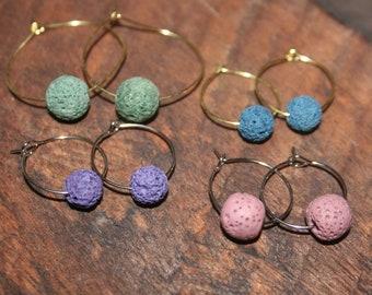 Essential Oil Earrings, Hoop Earrings, Lava stone earrings, Aromatherapy Earrings, Earrings to help with headaches, Diffuser earrings