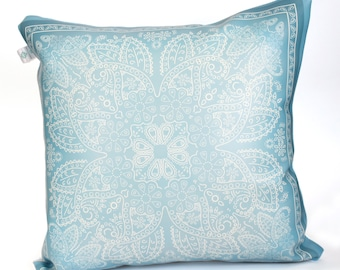 blue bandana pillow faux leather oriental moroccan decorative tile boho chic decorative pillow pillow cover outdoor pillow