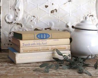 Vintage Cream Book Set, White Books for Decor, Vintage Book Bundle, Cottage Home Book Decor, Set of 4 Cream Books, Farmhouse Book Decor