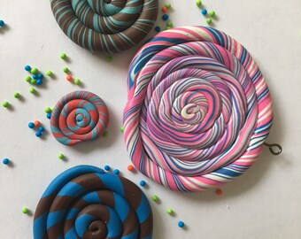 Fun swirly whirls! One pendant clay candy cirlcles