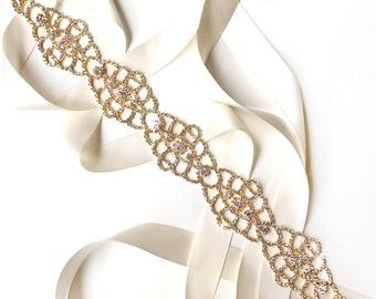 Sash - Fancy Rhinestone Bridal Belt Sash in Gold - White Ivory Silver Satin Ribbon - Crystal Wedding Sash - Extra Long Wedding Belt