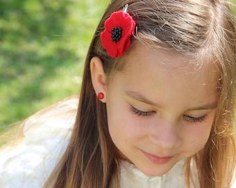 Red Poppy hair clips for women, White Poppy hair clips, Poppy hair accessory, Womens hair clips, poppy hair pins, red flower hair / set of 2