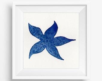 Blue Starfish / Fine Art Print / Starfish Print / Marine Print /Watercolor Print {Various sizes}