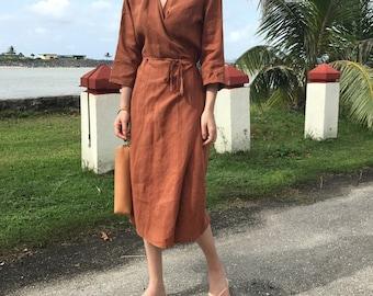 3Colors Organic Linen wrap dress - Linen Kimono Dress- Linen Dress- long sleeve linen wrap dress - Linen Dress - Linen gown - Linen robe
