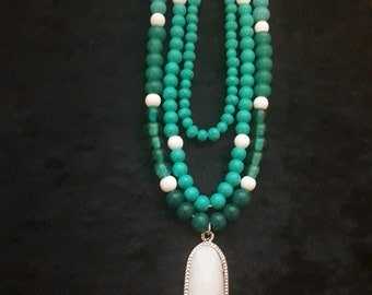 Triple Stand Turquoise Pendant Necklace