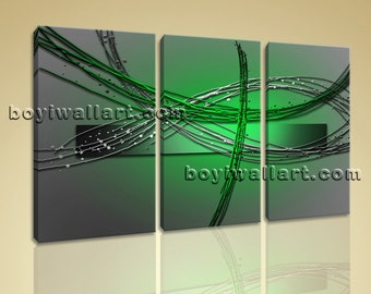 """Large Framed Modern Abstract Painting Home Decor Wall Art Print On Canvas Green, Abstract wall art,  size giclee print, 44""""x28"""""""