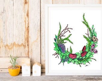 Watercolour Floral Wreath Artwork