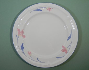 "Vtg 12"" Avonlea Citation Chop Platter White w/ Pink Parrot Tulip Pattern China Flower Plate Replacement Kitchenware Dinnerware Tableware EUC"
