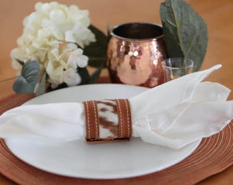 Cowhide and Leather Napkin Rings Set of 4