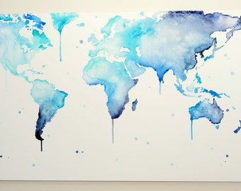 Watercolor paintings etsy au world map why so blue hand painted canvas wall gumiabroncs Gallery