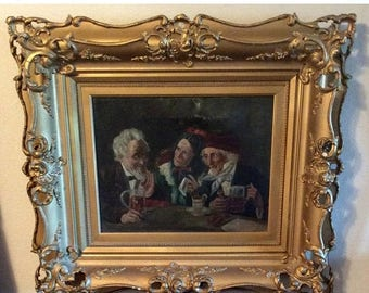 Sale Antique 19th C. Flemish Oil Painting Elder's Gossiping O/C European Genre Art English School Period Gilt Ornate Wood Frame