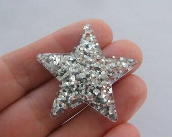 2 Star silver resin pendants S155