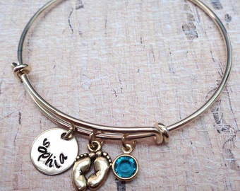 New Mommy New Baby Adjustable Bangle- Personalized Name Birthstone Bracelet -Gold Bangle Gift for Mommy Grandma Baby Baby Feet -B-51