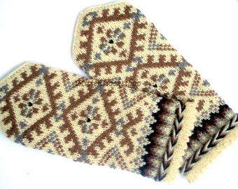 White Beige Gray Hand Knitted Wool Mittens White Beige Gray Hand Knitted Wool Gloves Warm Mittens Winter Gloves Latvian Mittens with Pattern