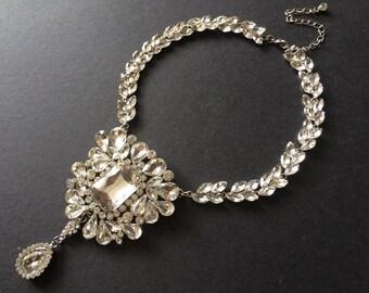 Sparkle Victorian Shaped Bridal Wedding Chandelier Jewelry Rhinestone Crystals Necklace, Bridal Jewelry, Wedding Necklace