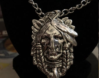 Native American Indian Pendant Chain Necklace